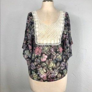 En Creme ASOS top flutter sleeve floral crochet tunic top size XS S Small